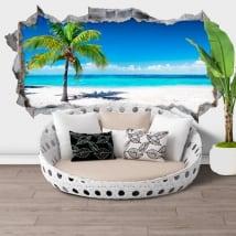 Sticker murale 3d palma spiaggia panoramica