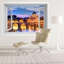 Vinili finestre fiume tevere e vaticano italia 3d