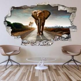 Vinile decorativo per i muri elefante 3d