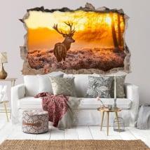 Vinili buco muro cervo e tramonto 3d