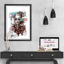 Vinili silhouette di donna immagine effetto 3d