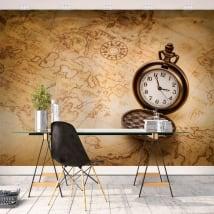Murales di vinile vintage mappa e guarda