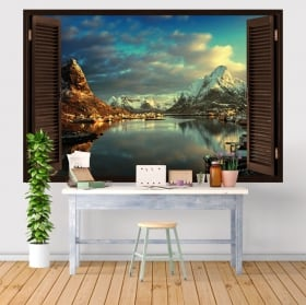 Vinile e adesivi finestra villaggio reine norvegia 3d