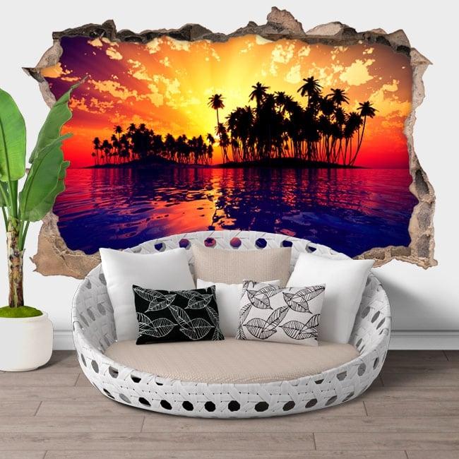 Vinili buco muro tramonto sul mare 3d
