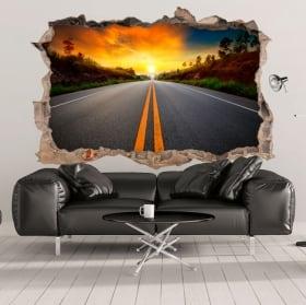 Vinile decorativo 3d tramonto sulla strada