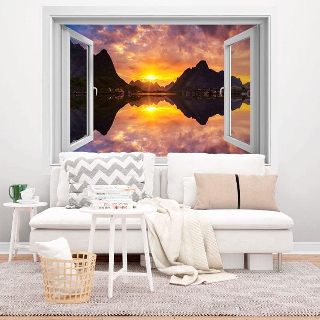 Vinili finestre tramonto nel fiordo norvegese 3d