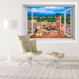 Vinili torre città di guinigi di lucca toscana italia 3d