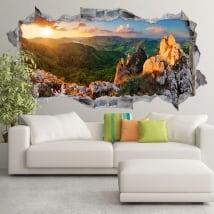 Vinile tramonto sulla montagna rocciosa slovacchia 3d