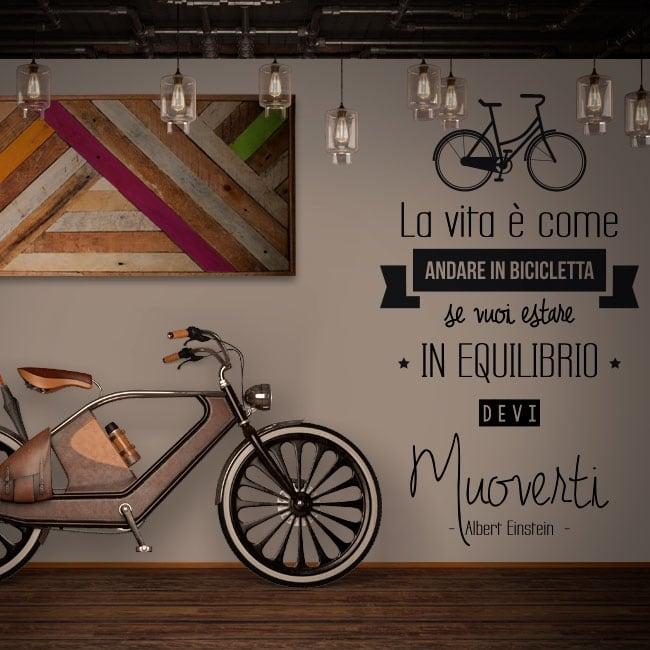 Adesivi Frasi Italiane La Vita è Come Andare In Bicicletta