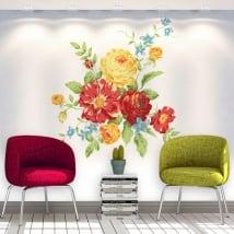Adesivi in vinile fiori muri e oggetti