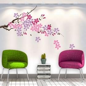 Vinile decorativo ramo di un albero con fiori e foglie