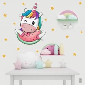 Vinile per bambini unicorno nuvole e arcobaleni