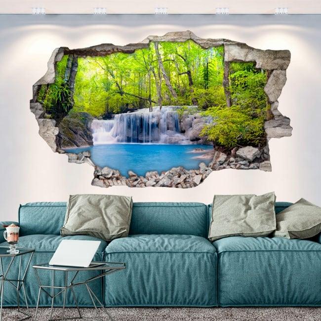 Adesivi foro muro 3d cascate nella foresta