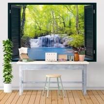 Vinili finestre cascata nella foresta 3d