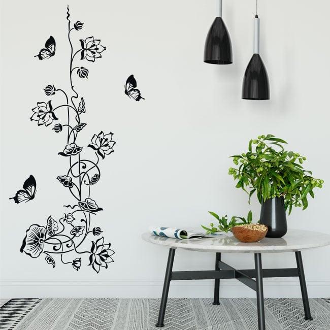 Vinili e adesivi fiori con farfalle