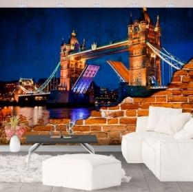 Foto murali vinile muro rotto london tower bridge