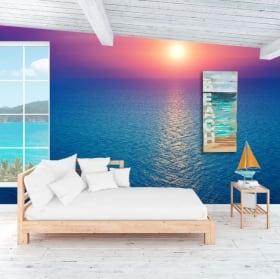 Murales in vinile tramonto nell'oceano