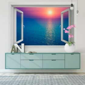 Vinili muri tramonto nell'oceano 3d