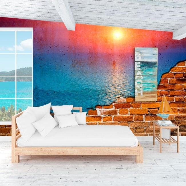 Foto murali tramonto nell'oceano effetto muro rotto