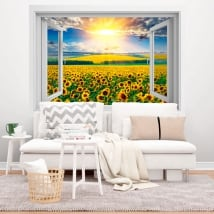 Vinili finestre tardo pomeriggio campo di girasoli 3d