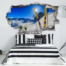 Adesivi murali tramonto nelle montagne nevose 3d
