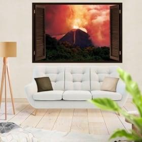 Vinili e adesivi per finestre eruzione del vulcano 3d