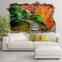 Sticker murale giardino giapponese foro muro 3d