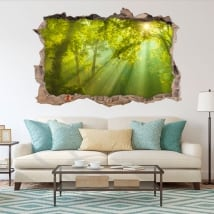 Adesivi decorativi 3d raggi del sole nella foresta
