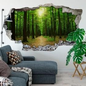 Vinili alberi nella foresta buco muro 3d