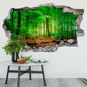 Vinili muri alberi nella foresta 3d