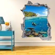 Adesivi decorativi 3d sottomarino sotto il mare
