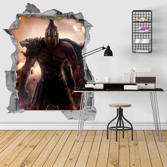 Adesivi decorativi 3d illustrazione guerriero spartano