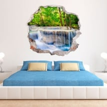 Adesivi murali 3d cascate nella foresta