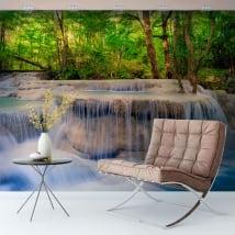 Murali in vinile cascate nella foresta