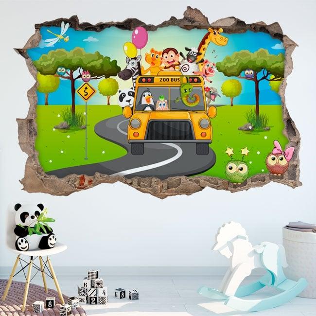 Vinili 3d bambini autobus animali dello zoo