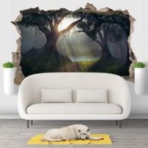 Adesivi decorativi 3d illustrazione alberi foresta magica