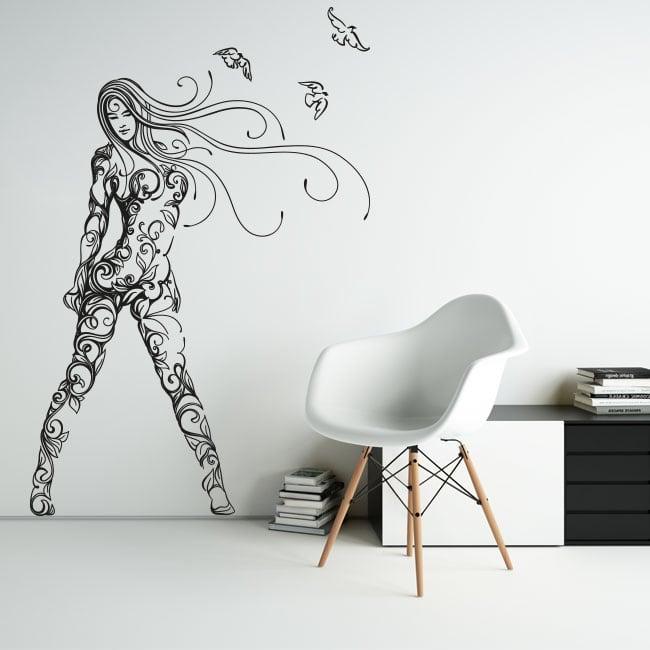 Vinile decorativo e adesivi silhouette donna con uccelli