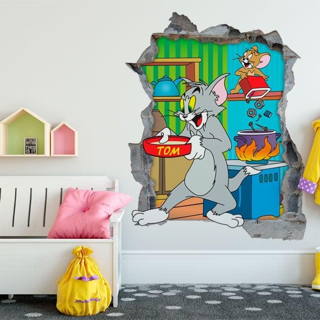 Vinile decorativo 3d gatto e topo tom e jerry