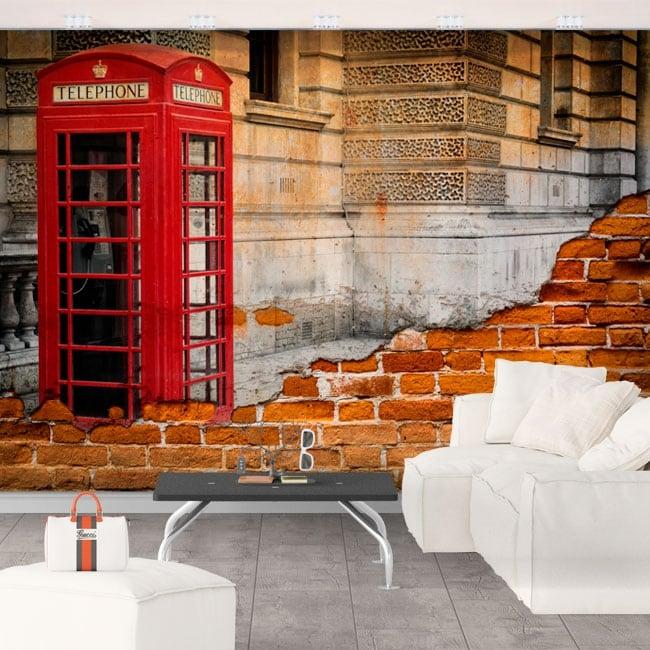 Gigantografie cabina telefonica inghilterra londra effetto muro rotto