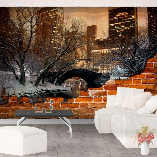 Murales central park di new york effetto muro rotto