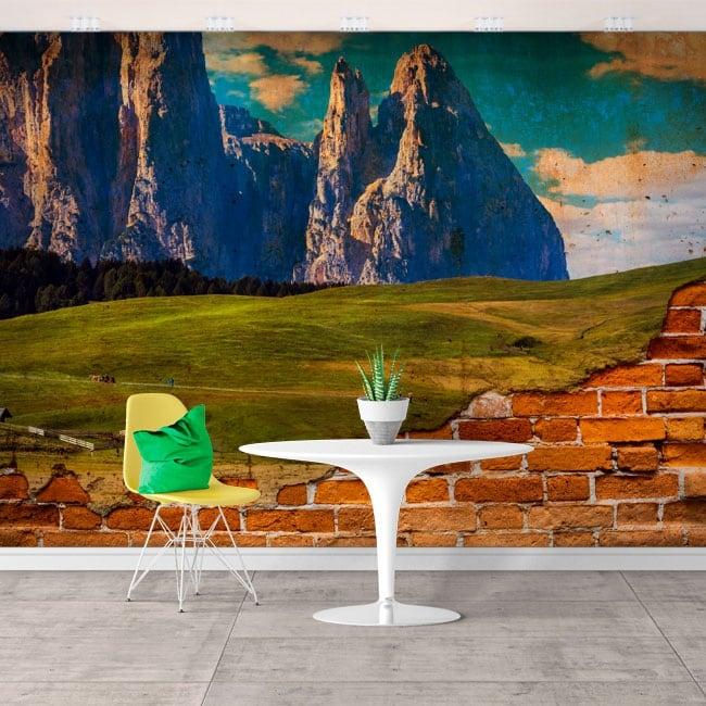 Murales in vinile montagne frastagliate effetto muro rotto
