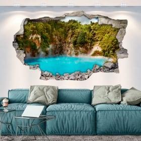Vinili muri lago cratere dall'inferno nuova zelanda 3d