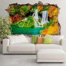 Vinili muri cascata della foresta in autunno 3d