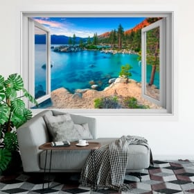 Vinili finestre sand harbor lake tahoe sierra nevada 3d