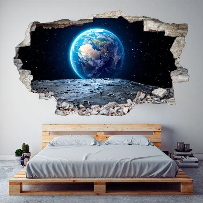 Vinile decorativo pianeta terra 3d