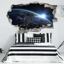 Vinili buco muro pianeta terra 3d