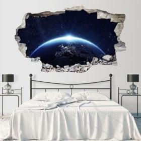 Adesivi murali pianeta terra 3d