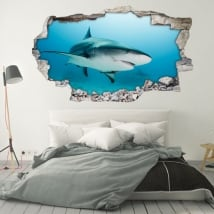 Vinile decorativo per i muri squalo 3d