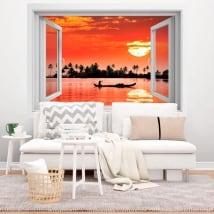 Vinile decorativo tramonto tropicale 3d