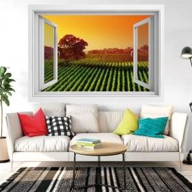 Vinili finestra tramonto nel campo dei fiori 3d